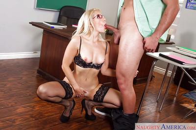 Hot blonde teacher Ashley Fires masturbating pussy while sucking penis