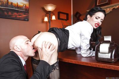 Horny milf Veronica Avluv shows her big tits and gets fucked in office