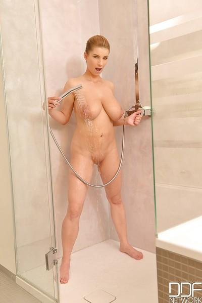 Katerina Hartlova has some shower fun with her giant natural tits