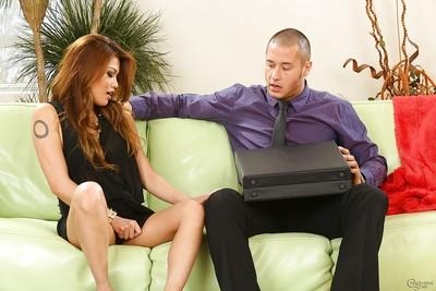 Asian milf Charmane Star is seducing her client while wearing sexy dress