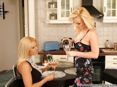 Seductive MILF Gina Bee is into hot lesbian action with her friend