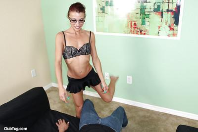 Sassy MILF in glasses reveals her tiny tits and jerks off a thick boner