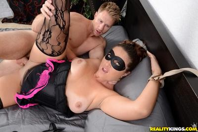 Blindfolded cougar Madisin Lee taking cumshot on face in hardcore sex scene
