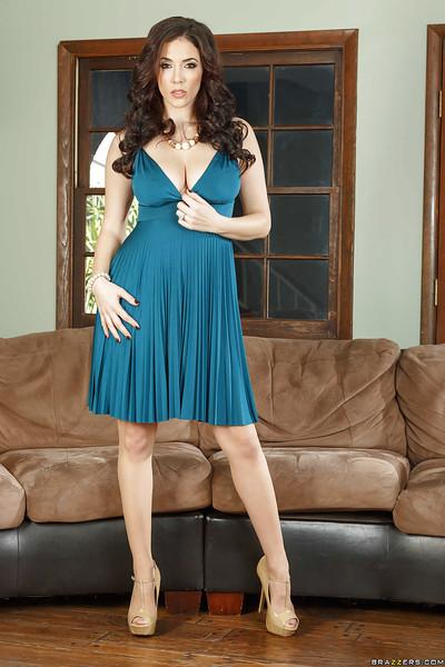 Milf babe Jelena Jensen posing in black stockings and garters