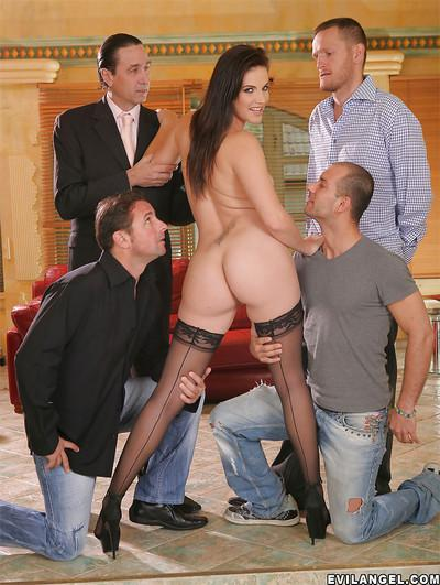 Bobbi Starr fucking with a group of men and getting satisfied