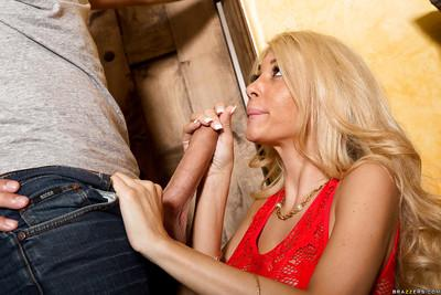 Stone-hard cock enters the mouth of sexy milf wife Kayla Kayden