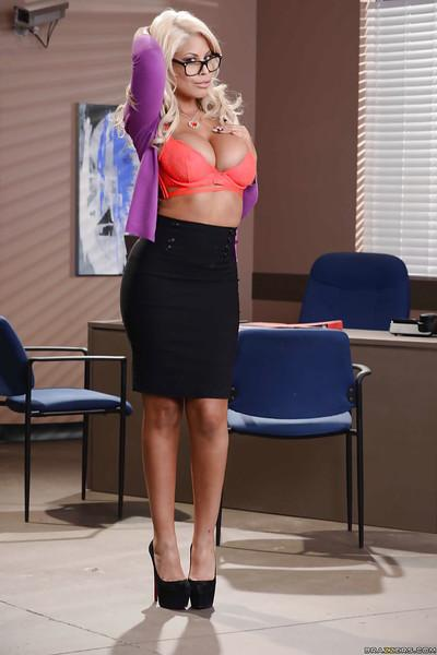 Busty Latina MILF Bridgette B flashing panties and cleavage in office