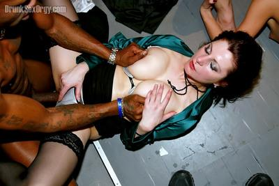 Slutty gals gets drilled hardcore by male strippers at the party