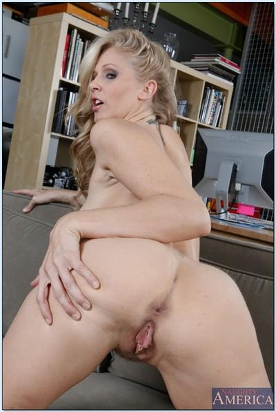 Heated wife Julia Ann showing off MILF hooters and shaved pussy