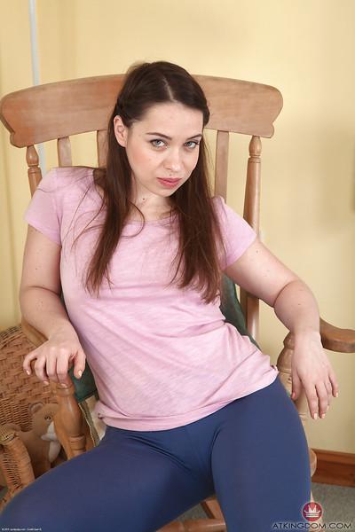 Naughty European mother Olga Cabaeva lifting shirt to flash tits