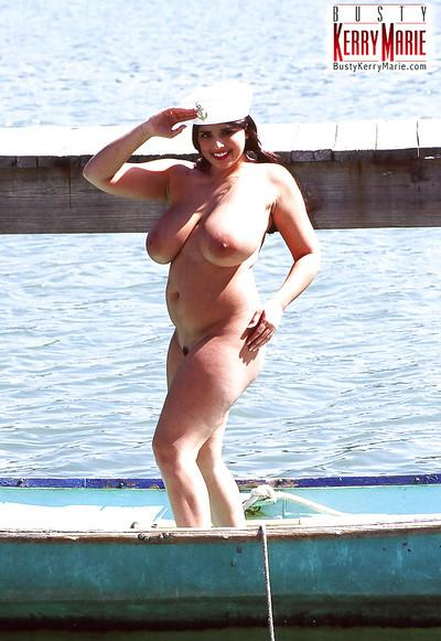 Chesty BBW babe Kerry Marie spreading MILF pornstar outdoors in uniform