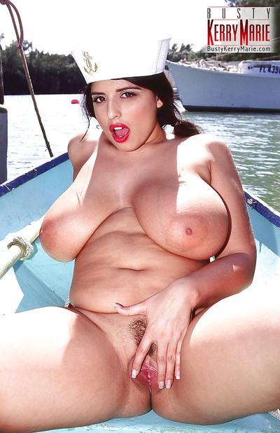 Chesty BBW babe Kerry Marie spreading MILF pornstar outdoors in uniform