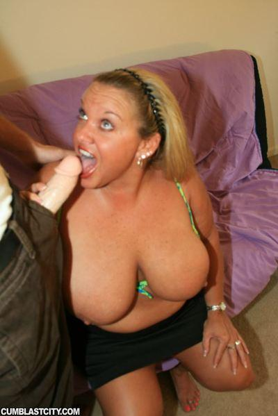 Fatty MILF with massive jugs gives a blowjob and gets bukkaked