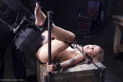 Hot blonde MILF Dylan Ryan has her pussy flogged until she pisses herself