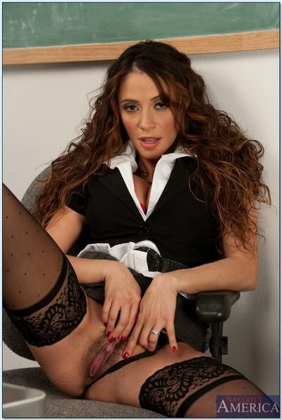 Amazing busty teacher Ariella Ferrera teasing her cunt in the class