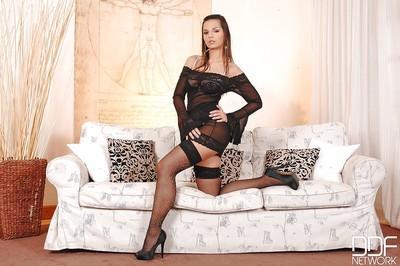Busty European pornstar Eve Angel fingering her MILF pussy