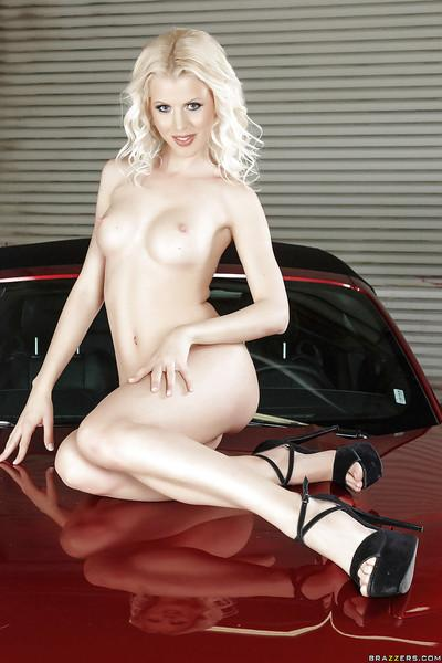 Pale skinned European babe Lynna Nilsson showing off her tits in heels