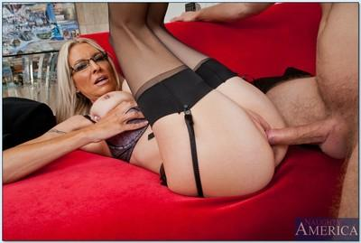 Blonde MILF in glasses Emma Starr sucks and fucks a huge cock