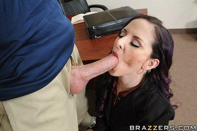 Caroline Pierce gets throat fucked and takes a boner in her shaved cunt