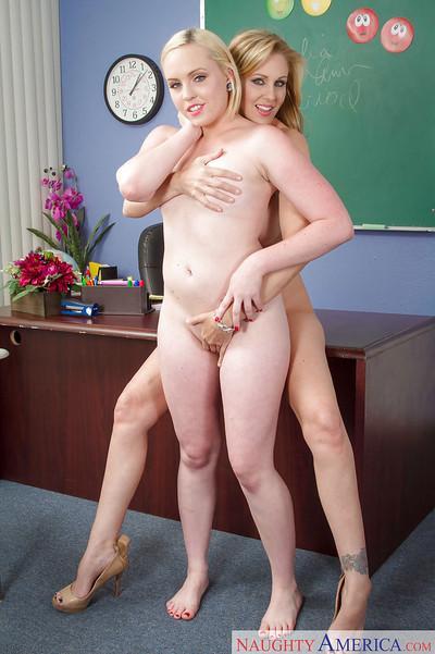 Lesbian girlfriend Miley May plays with milf teacher Julia Ann
