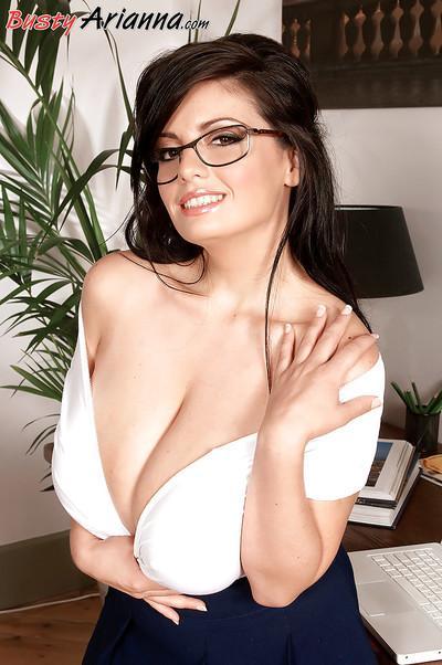 European secretary Arianna Sinn exposing massive MILF tits in office