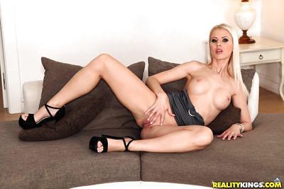 Blonde Euro babe model Lynna Nilsson posing non nude in black dress