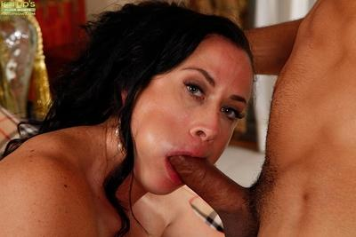 Clothed Latina MILF Aerial Cruz taking cumshot in mouth after sucking cock