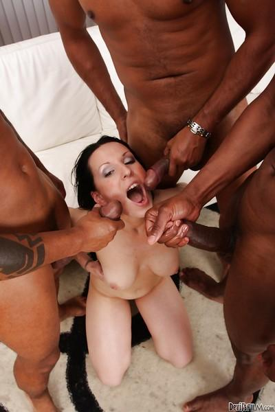 Gangbang with giant black wieners and slender brunette Maya B