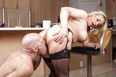 Lovely chick in stockings Sarah Vandella gives a titjob and gets shagged