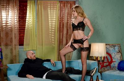 Blonde wife Trisha Parks gives and receives oral sex in fishnet stockings
