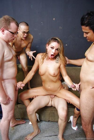 Jadish MILF gets her face glazed with jizz after a fervent gangbang action