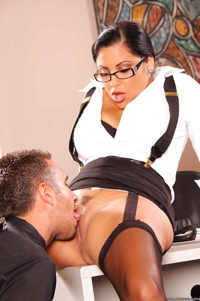 Office Latina milf with big tits Sophia Lomeli gives reality blowjob