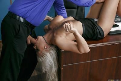 Blonde MILF secretary Holly Heart uses bare feet to jerk cock