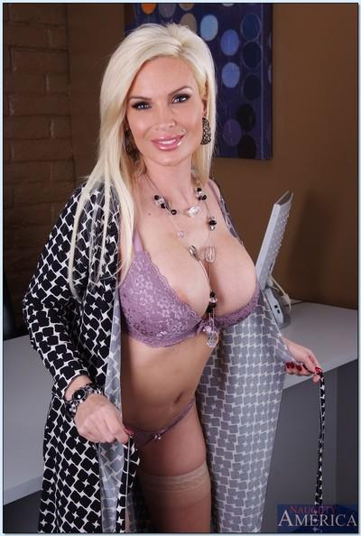 MILF teacher Diamond Foxxx revealing big tits from lacy lingerie