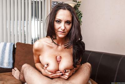 Busty MILF Ava Addams gives a titjob and gets her love holes cocked up
