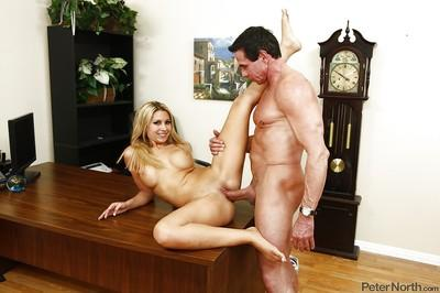 Bosomy office chick Natalie Vegas gets fucked hardcore and facialized