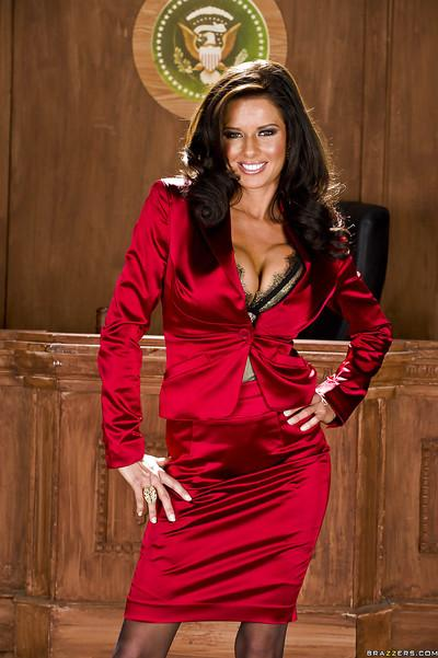 Big busted MILF Veronica Avluv stripping off her suit and lingerie