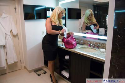 Big boobed blonde escort Alura Jensen getting ready for sex date