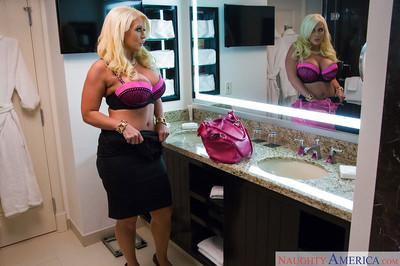 Big boobed blonde escort Alura Jensen getting ready for sex date