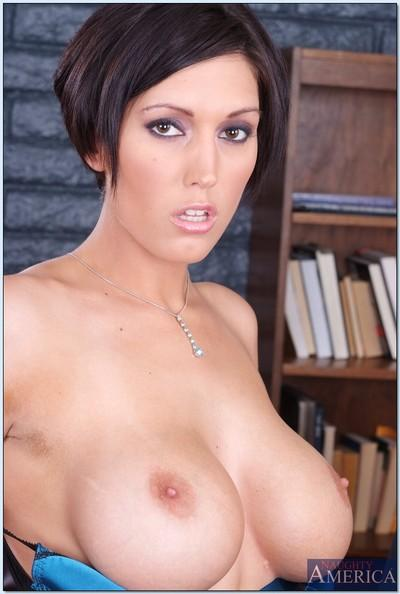 MILF teacher Dylan Ryder stripping from sleek lingerie in the library