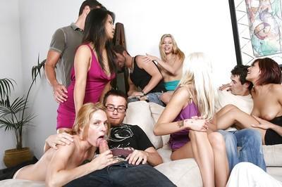 Frisky sluts enjoy a hardcore sex orgy at the house party