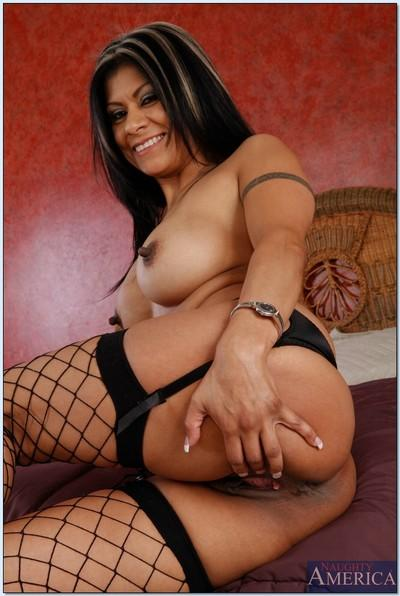 Latina MILF in fishnet stockings Gabby Quinteros slipping off her lingerie