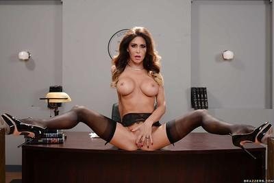 Big boobed mom Jessica Jaymes playing with her pierced pussy