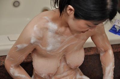 Fuckable asian MILF with flabby jugs Satoko Miyazawa taking shower