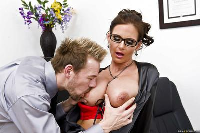 Lusty teacher in glasses Phoenix Marie gets blowbanged and double penetrated