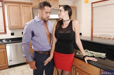Top-heavy latina bombshell in nylons seduces a hung lad to play with his dick