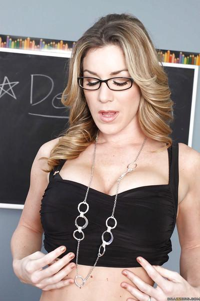 MILF teacher in glasses Kayla Paige stripping on the top of her desk