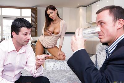Busty housewife Satin Bloom sucking cock and taking dick in MMF threesome