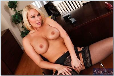 MILF teacher Mellanie Monroe in stockings tease her pussy in office