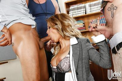 Milf teacher Jessica Drake enjoys gangbang with two students